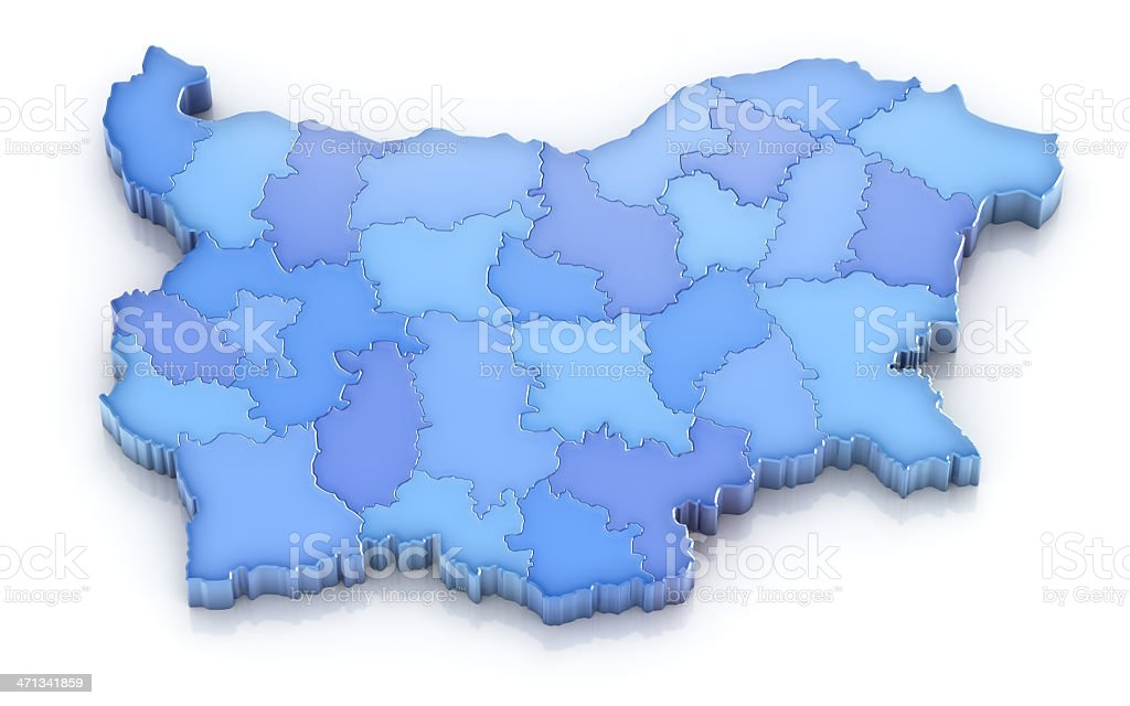 Bulgaria map with provinces stock photo