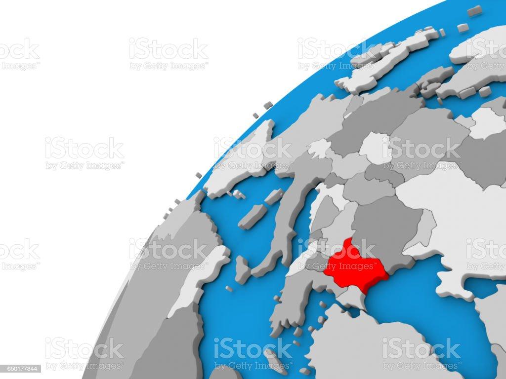 Bulgaria on globe in red stock photo