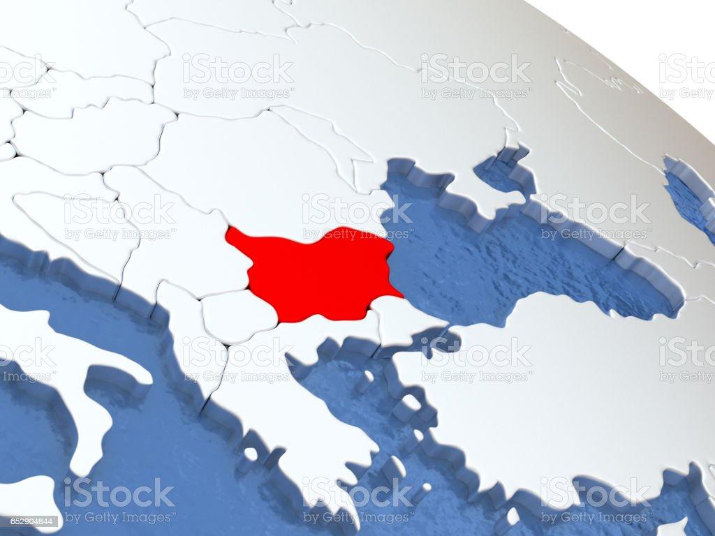 Bulgaria on globe stock photo