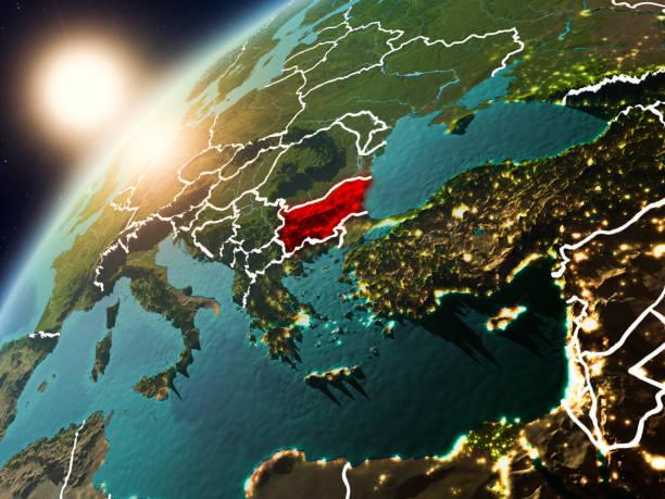 Bulgaria en el planeta tierra en puesta del sol - foto de stock
