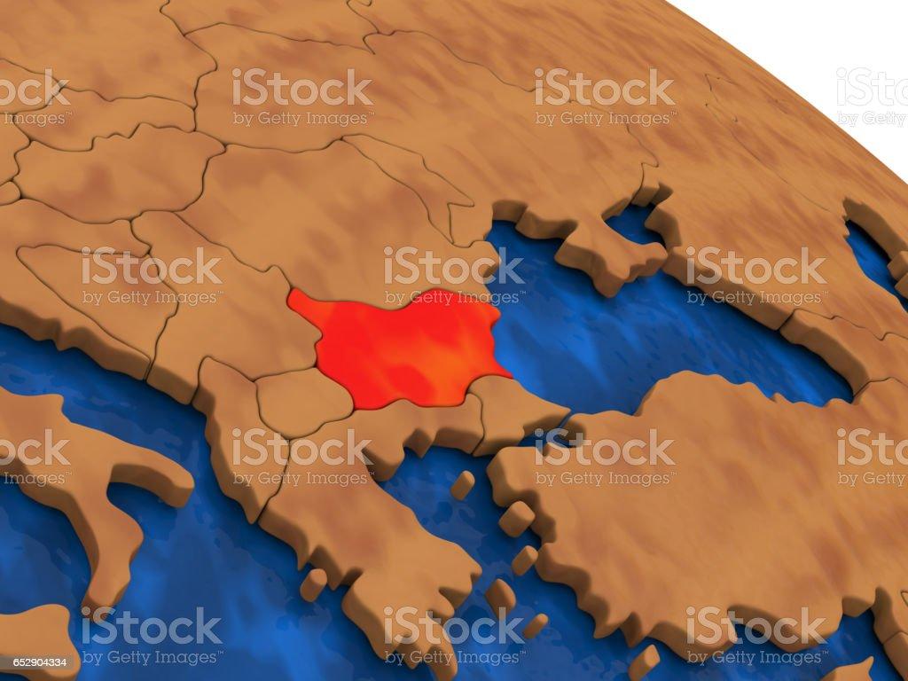 Bulgaria on wooden globe stock photo