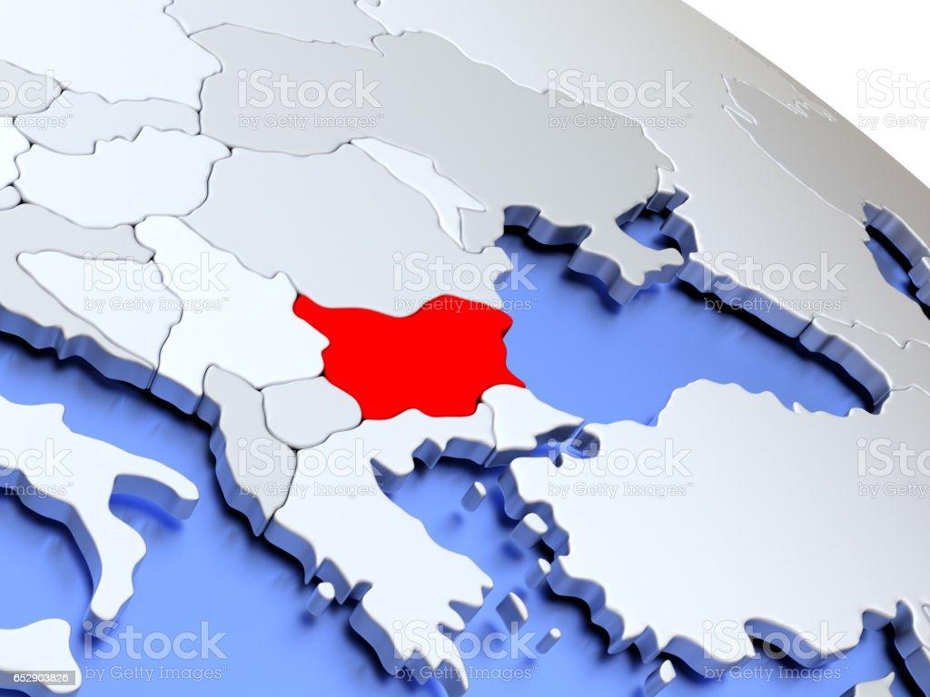 Bulgaria on world map stock photo