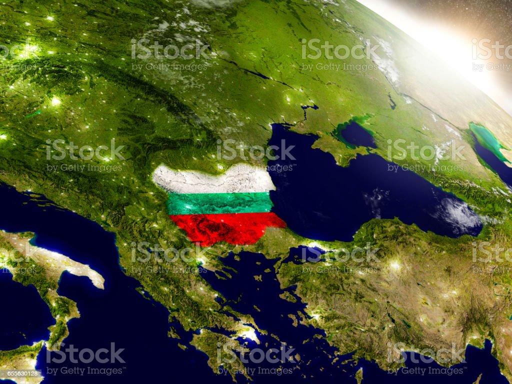 Bulgaria with flag in rising sun stock photo