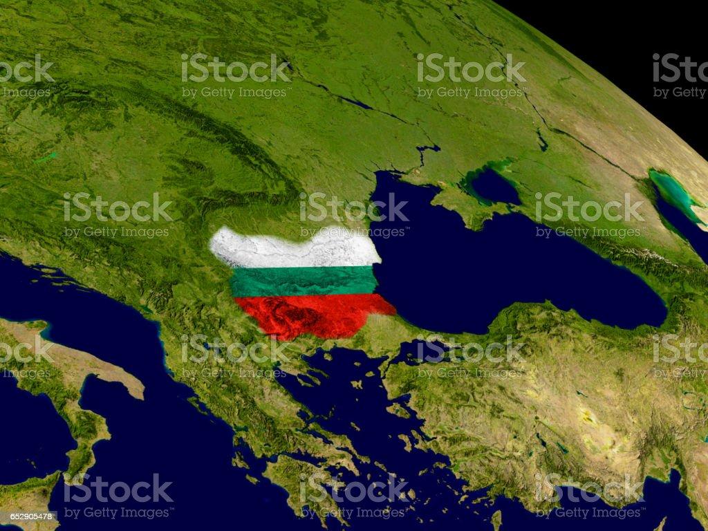 Bulgaria with flag on Earth stock photo