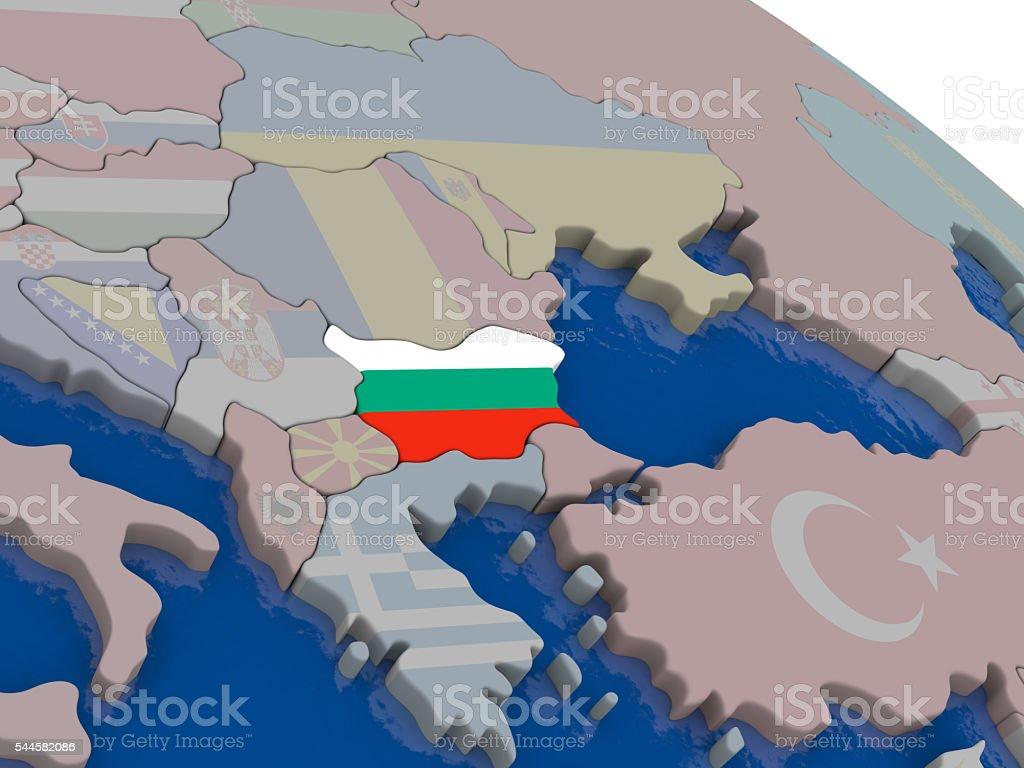 Bulgaria with flag stock photo