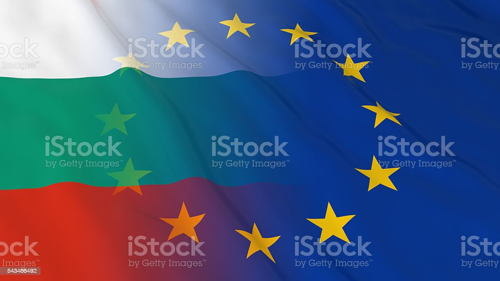 Bulgarian and European Union Relations Concept - Merged Flags stock photo