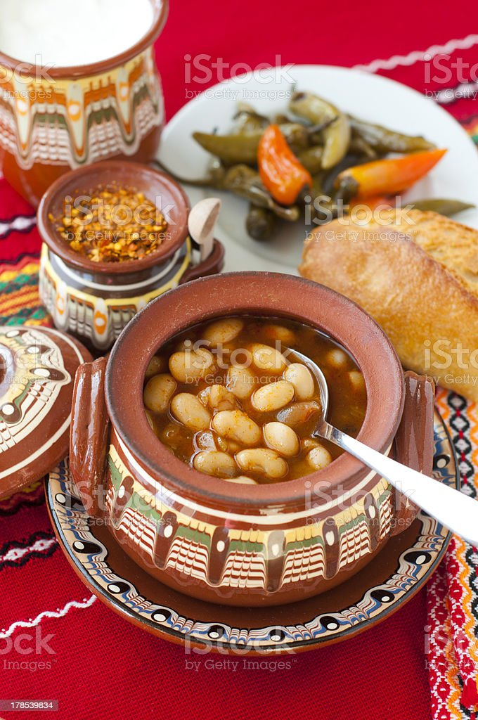 Bulgarian baked beans stock photo