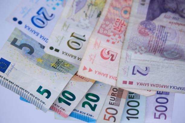 bulgarische baknotes, bgn - euro symbol stock-fotos und bilder