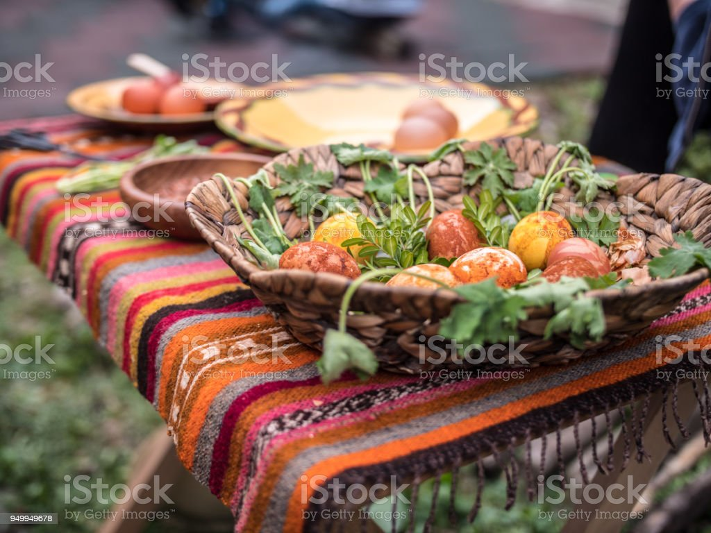 Bulgarian colorful easter eggs on a colorful table cover stock photo