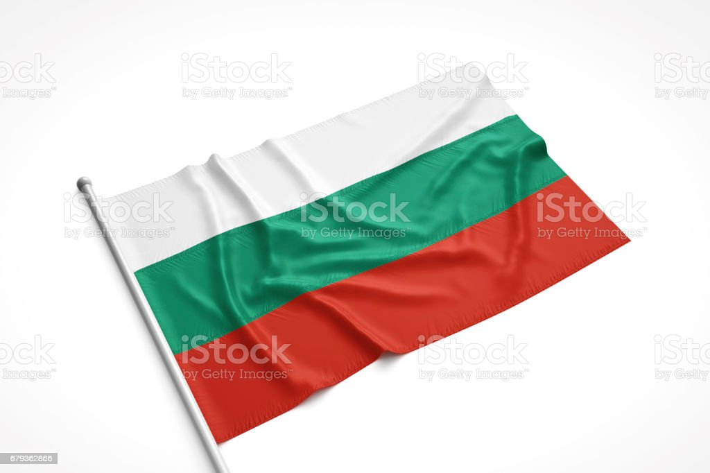 Bulgarian Flag is Laying on a White Surface stock photo