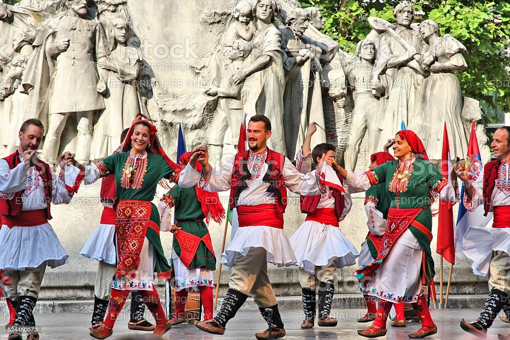 Bulgarian folk dance stock photo