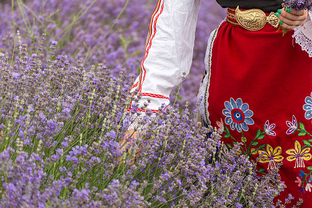 Bulgarian girl in a lavender field stock photo
