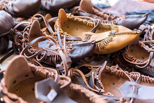 bulgarian leather folklore shoes - lammfell stock-fotos und bilder