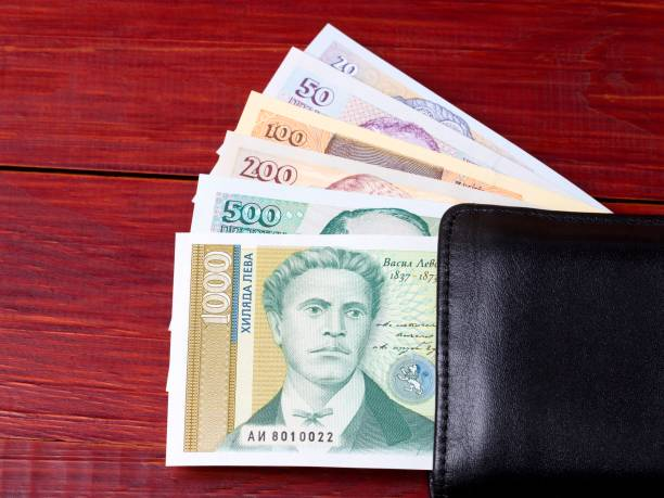 Bulgarian lev in the black wallet stock photo