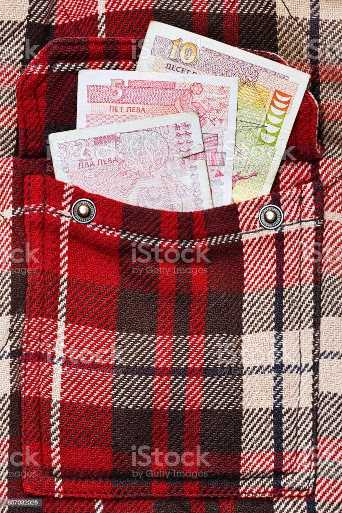 Bulgarian levs in checkered jacket pocket stock photo