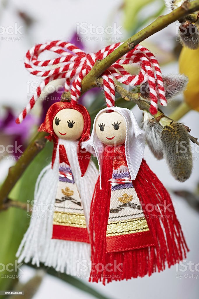 Bulgarian Martenitsa spring sign stock photo