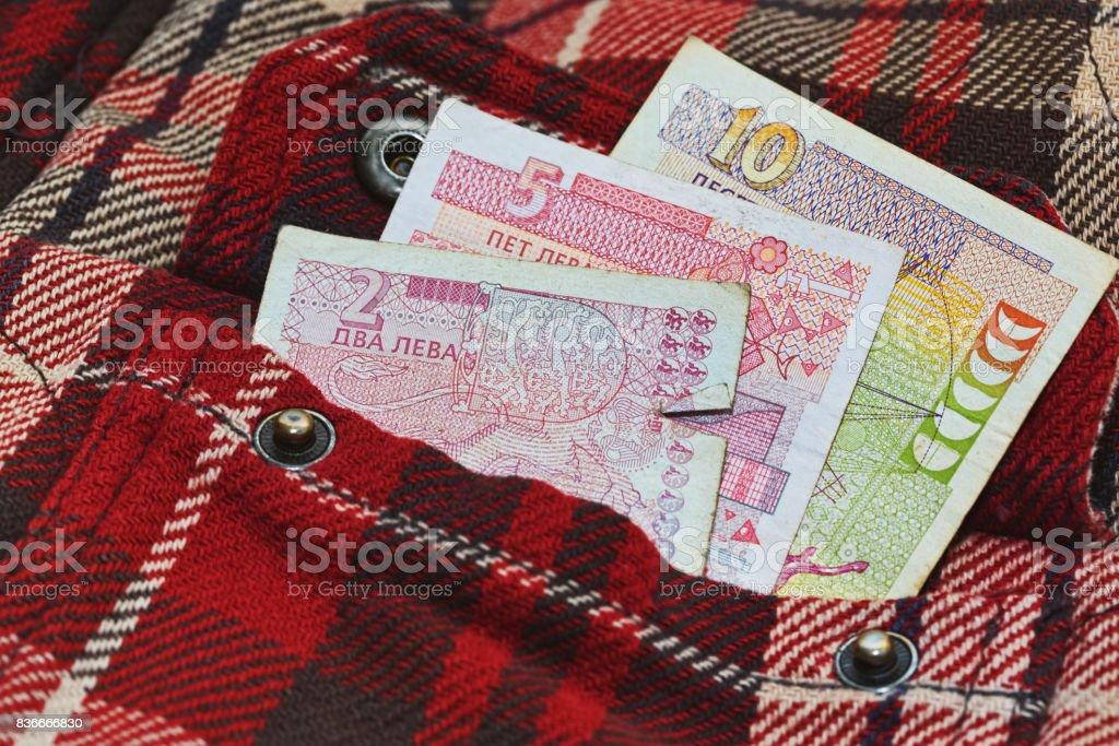 Bulgarian money in work shirt pocket stock photo