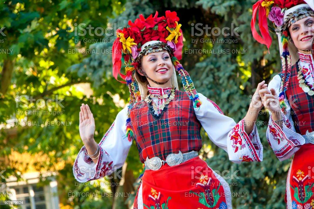 Bulgarian national folklore dances stock photo