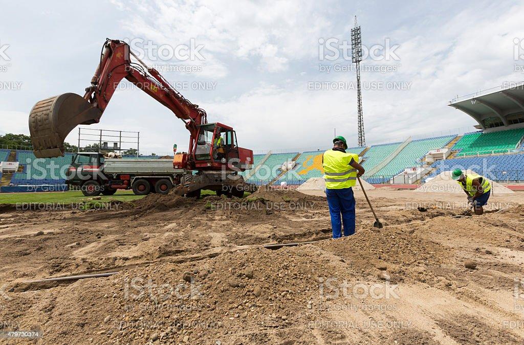 Bulgarian national stadium renovation stock photo