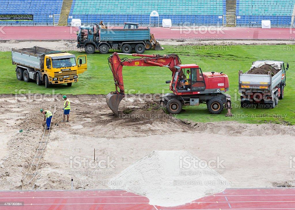 Bulgarian national stadium renovation workers stock photo