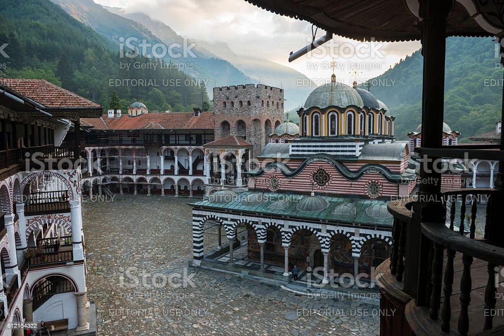 Bulgarian Orthodox Rila Monastery in Bulgaria stock photo