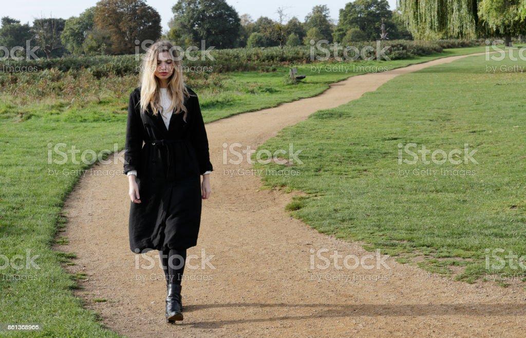 Bulgarian outdoor girl autumn nature walk Surrey England stock photo