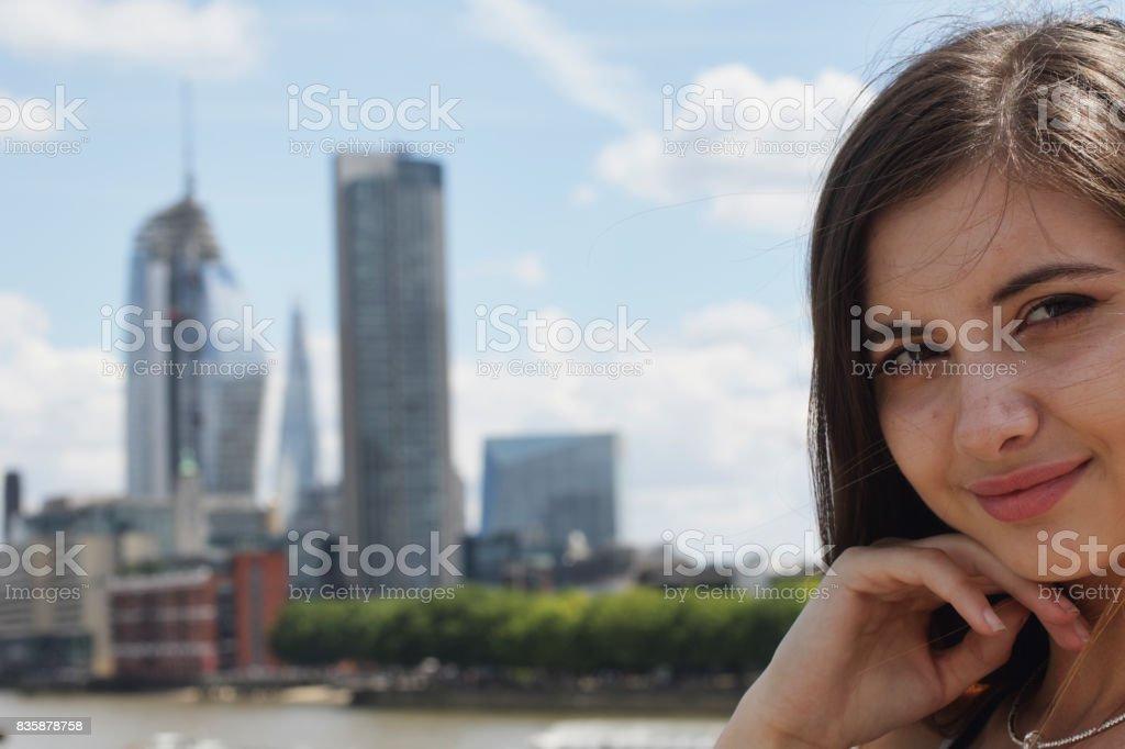 Bulgarian outdoor girl teenager in London stock photo