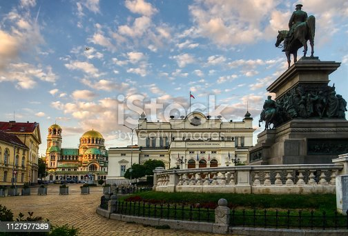 Alexander II monument, Bulgarian parliament and Cathedral Alexander Nevsky. The motto on the parliament building reads: