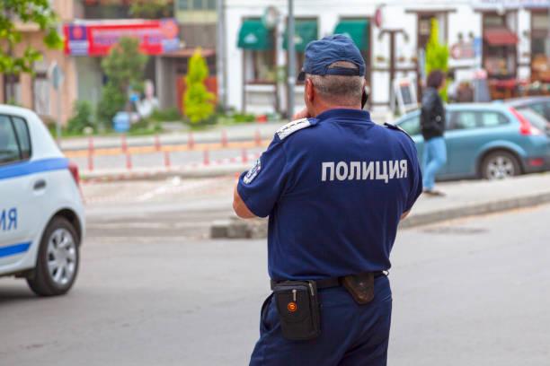 Bulgarian policeman stock photo