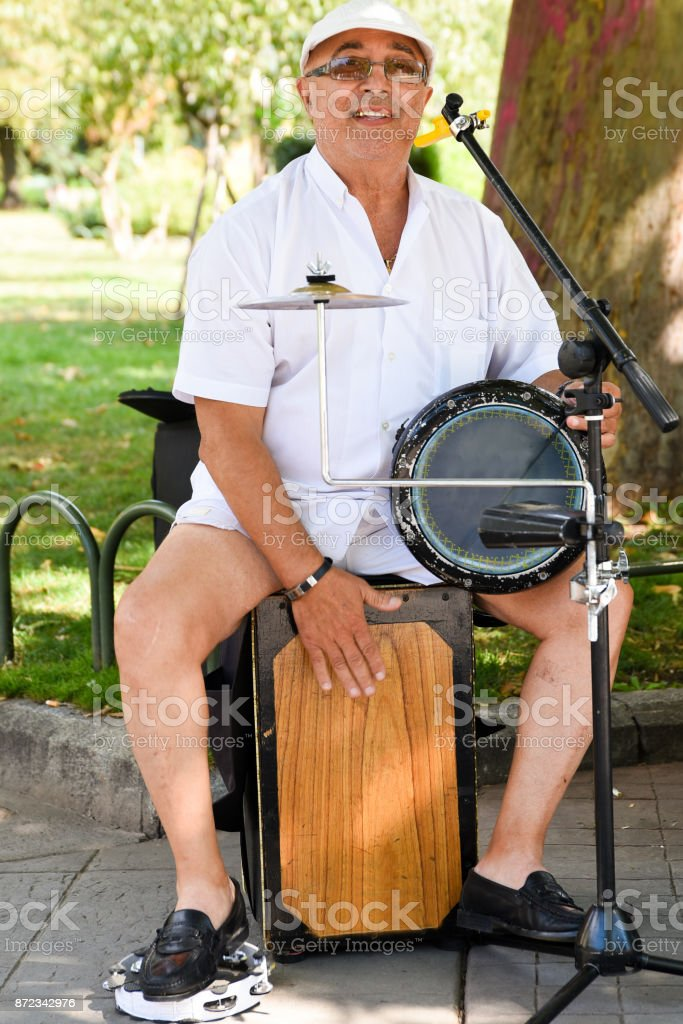 Bulgarian Street Musician Playing Drums stock photo