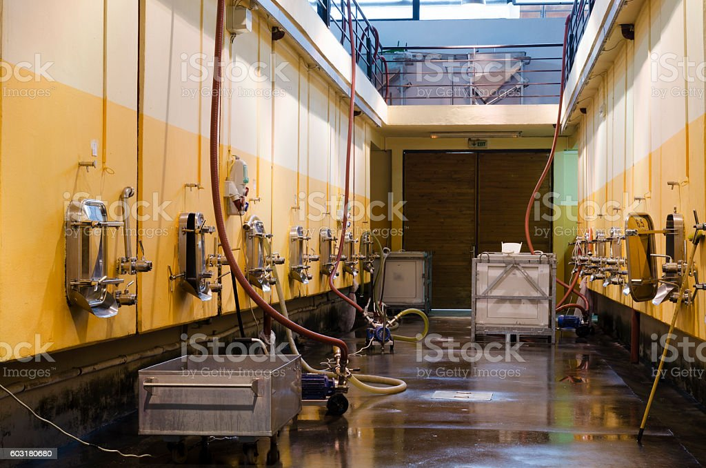 Bulgarian winery and stainless steel fermentation vessels stock photo