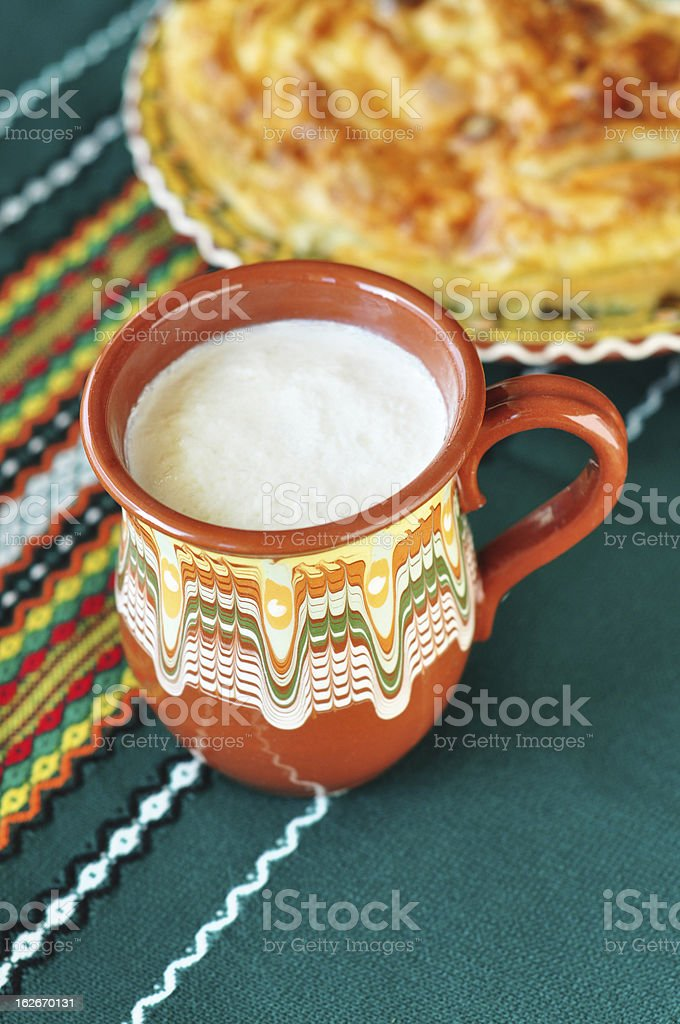 Bulgarian yogurt and banitsa stock photo