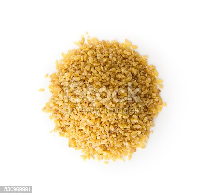 Bulgur Wheat  with copy space , isolated on white
