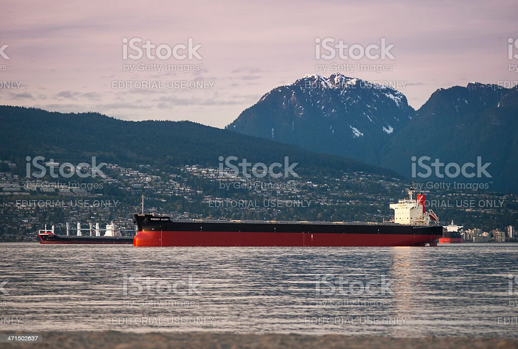 Bulk cargo ship and oil tanker outside Vancouver royalty-free stock photo