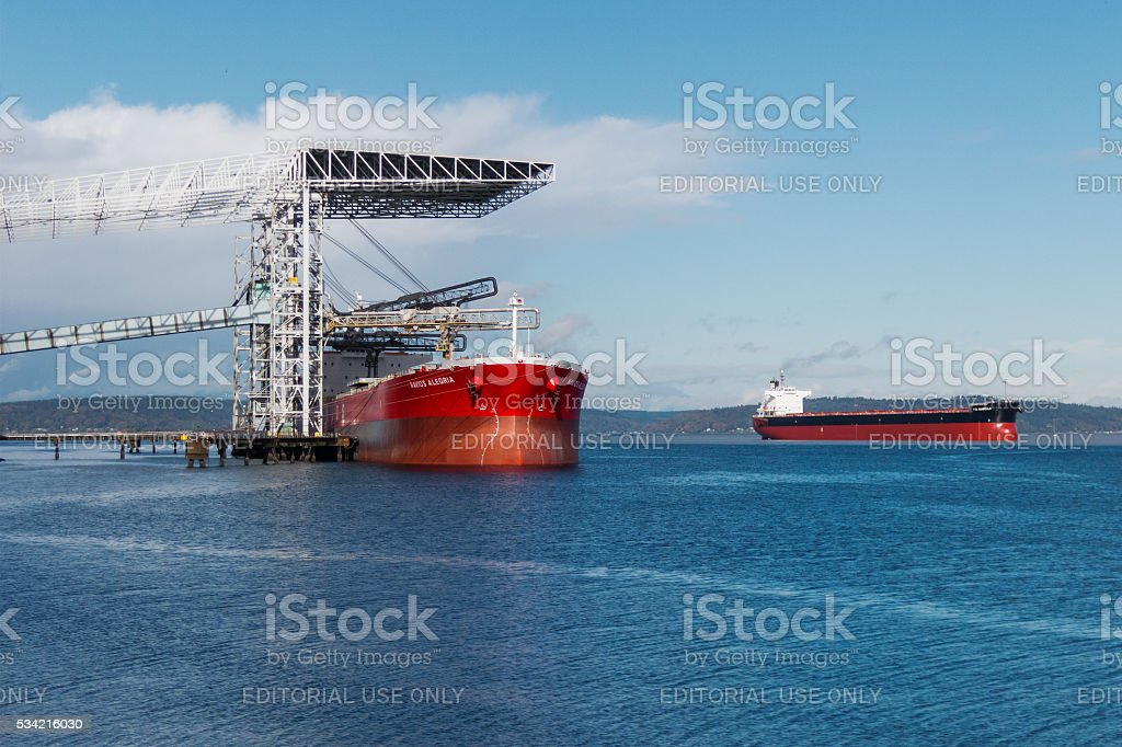 Bulk carrier at terminal stock photo