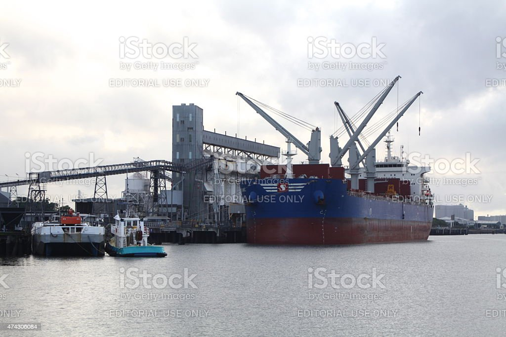 Bulk Carrier Discharging Cargo stock photo