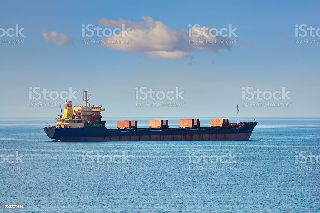 Bulk Carrier in the Sea stock photo
