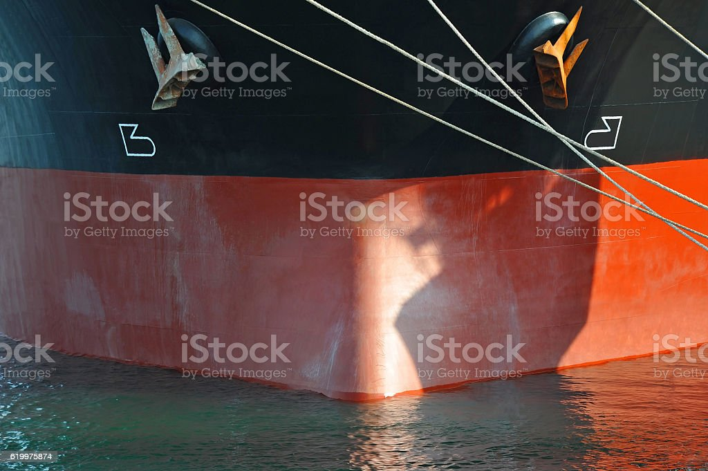 Bulk carrier ship bow stock photo