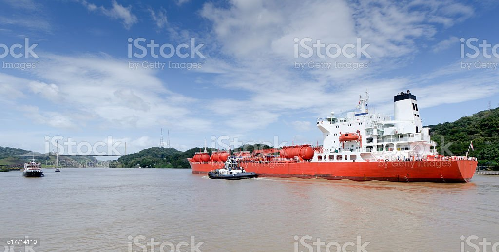 Bulk Liquid Carrier in the Panama Canal stock photo
