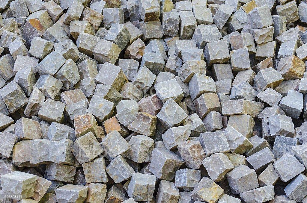 Bulk material, sandstone, natural stone, quarry stone warehouse space stock photo