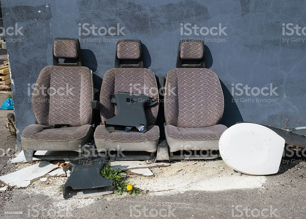 Bulk Rubbish With Old Car Seats And Toilet Lid Royalty Free Stock Photo