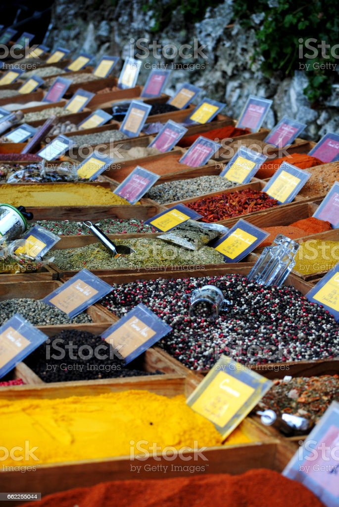 Bulk spices for sale royalty-free stock photo