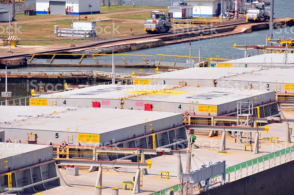 Bulker ship cargo hold hatch covers stock photo