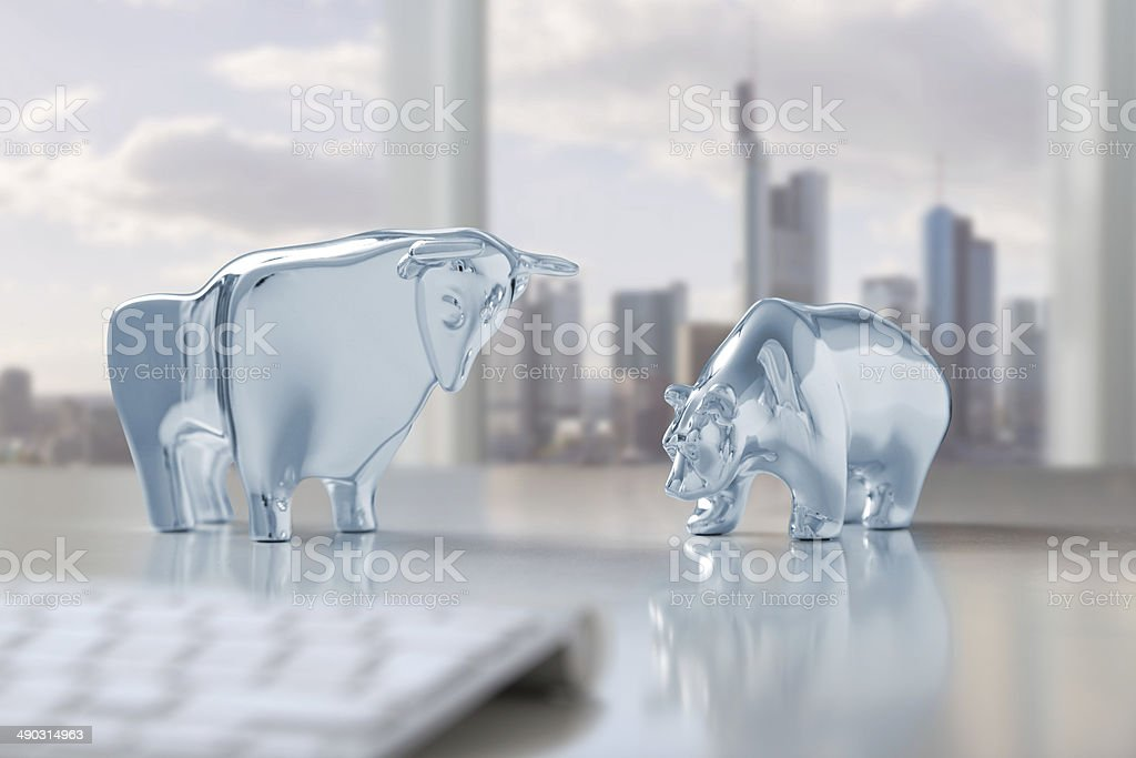 Bull and bear in Frankfurt stock photo