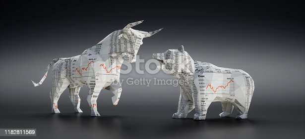 Bull and Bear made of Financial Newspaper with Charts on dark grey Background
