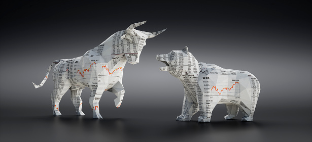 Bull and Bear made of Financial Newspaper