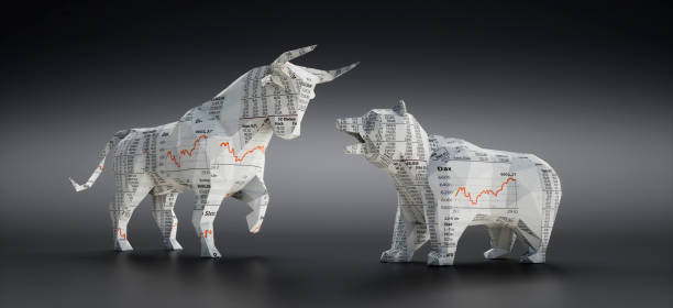 Bull and Bear made of Financial Newspaper Bull and Bear made of Financial Newspaper with Charts on dark grey Background bull market stock pictures, royalty-free photos & images
