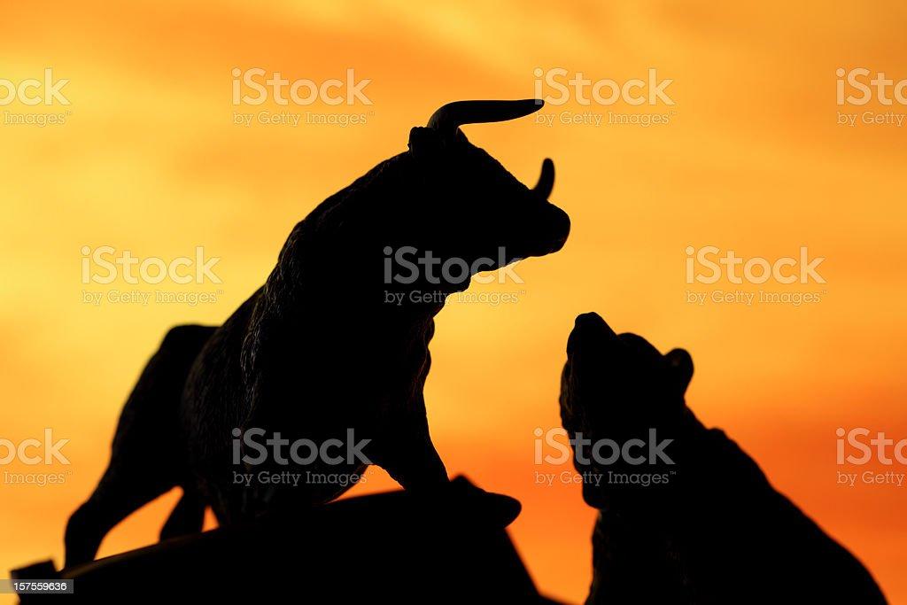 Bull and bear market stock photo