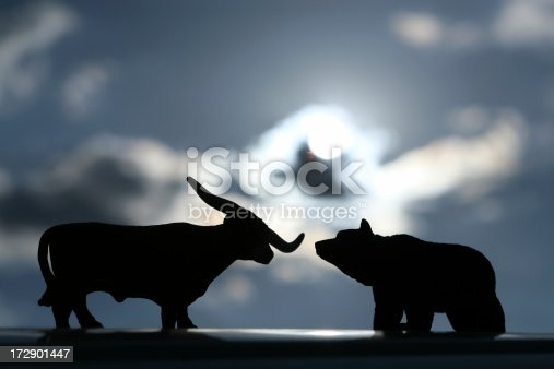 silhouette shot off bull and bear