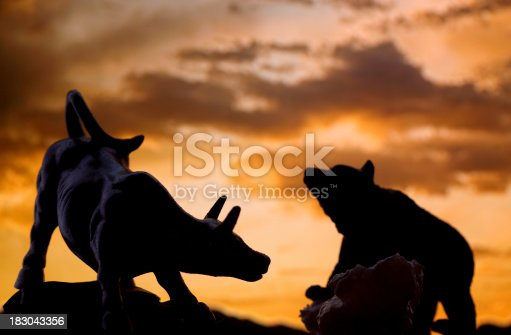 Silhouette shot of bull and bear